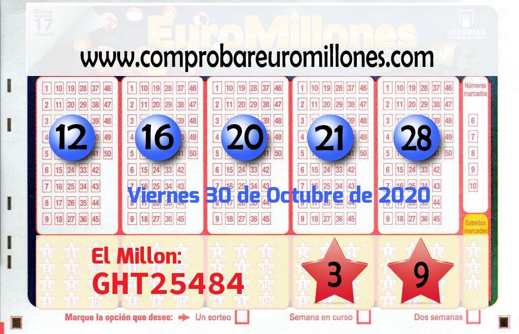 El Euromillón del Viernes envía 163.000 de euros a Madrid por un boleto acertado